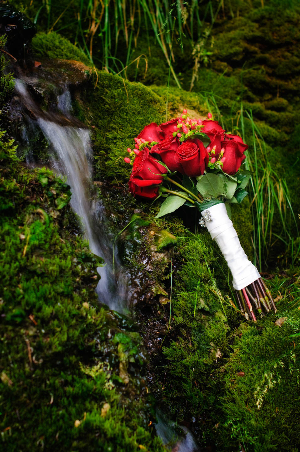 Bouquet by a waterfall