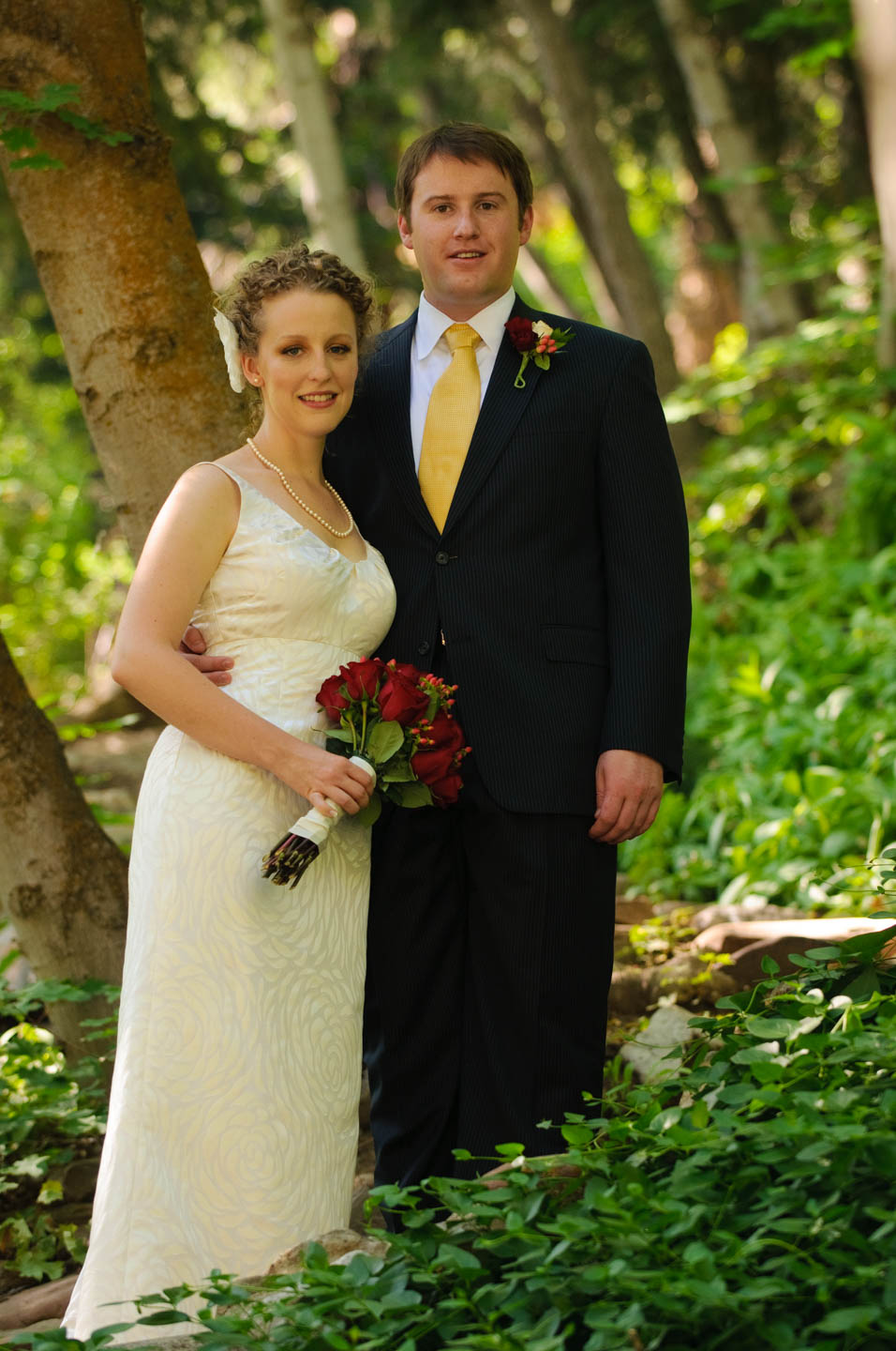 Formal portrait of the bride and groom