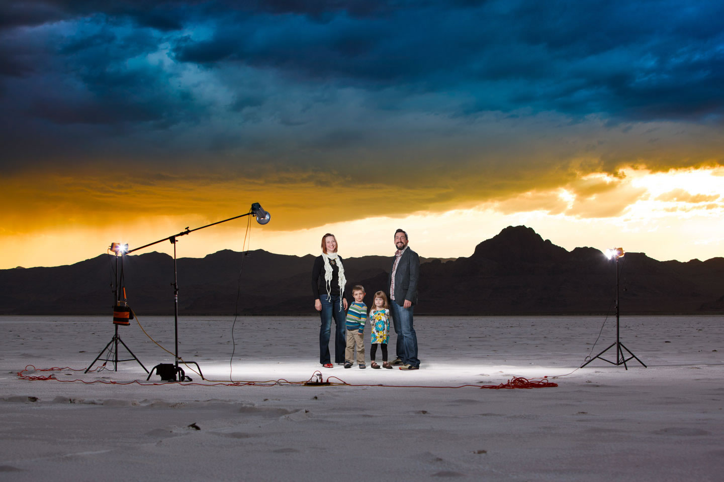 Family added to Salt Flats using Photoshop