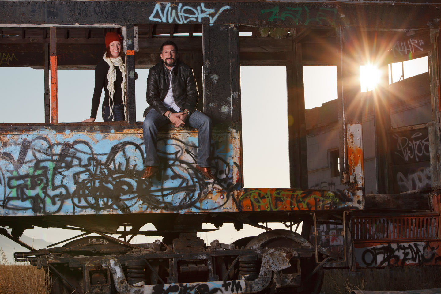 Anne and Aaron on the abandoned trolley, the trolley has since been removed