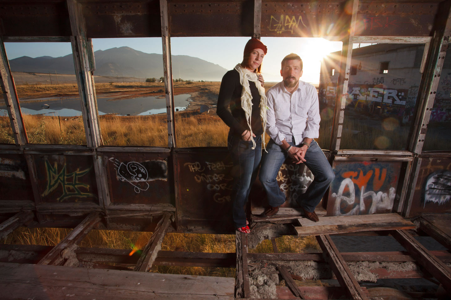 Hanging out for portraits at the abandoned trolley