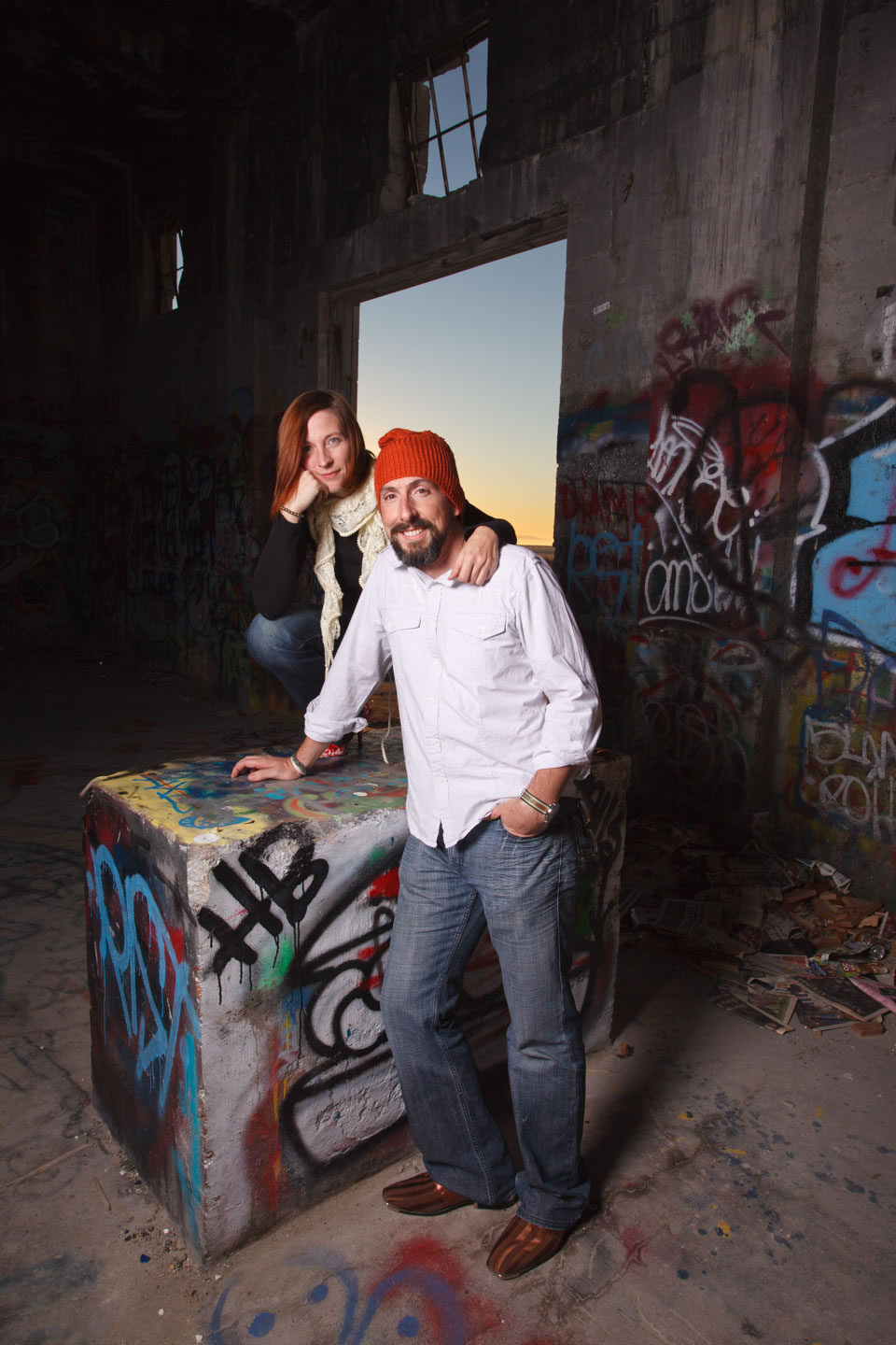 Anne and Aaron in the abandoned building