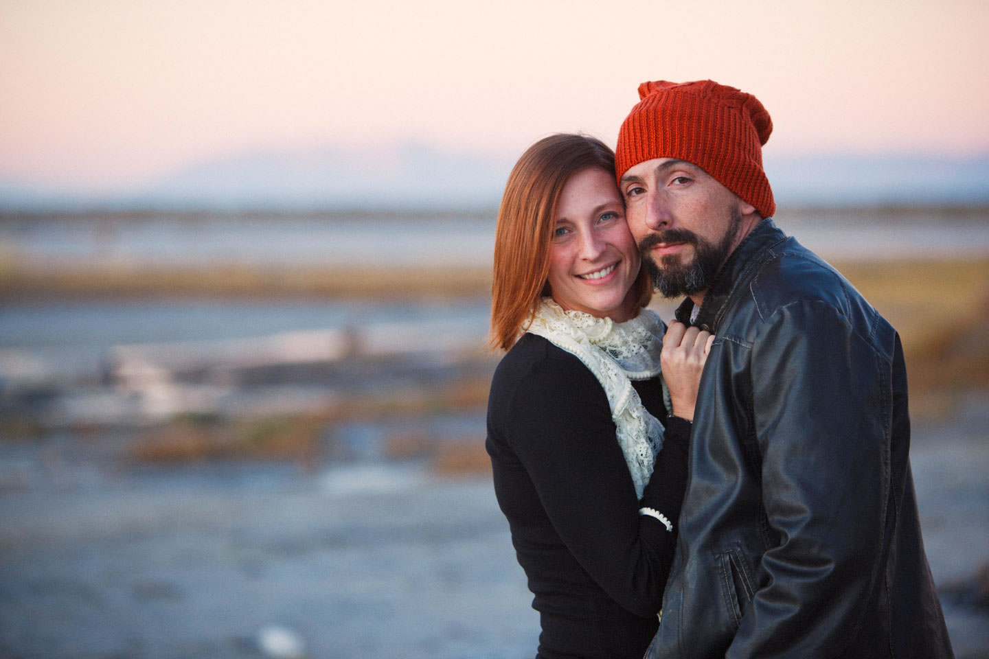 Great Salt Lake after sunset is wonderful for portraits, your shoes will get dirty