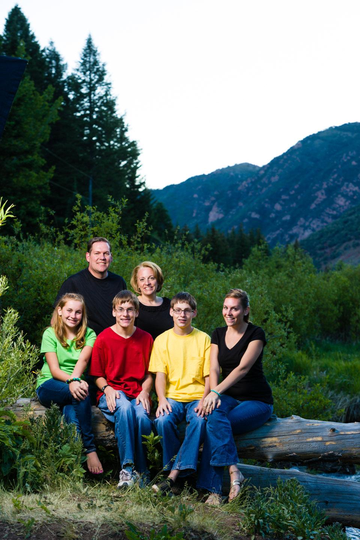 Family portrait during twilight