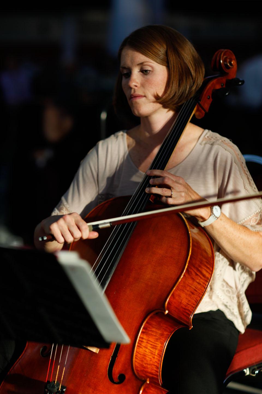 Cellist plays the cello