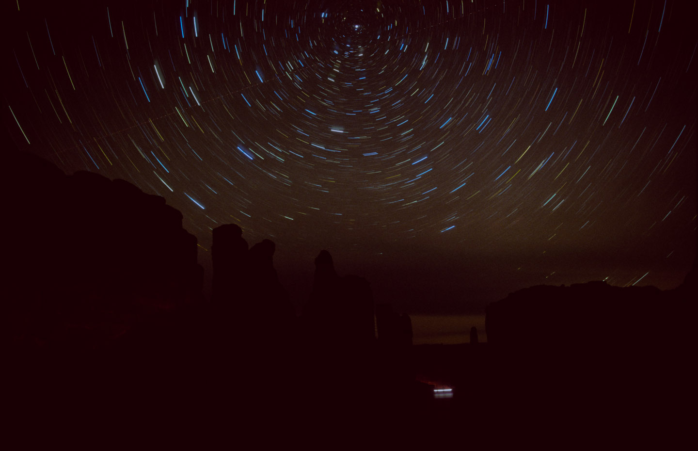 Star trails with Polaris over Park Avenue in Moab