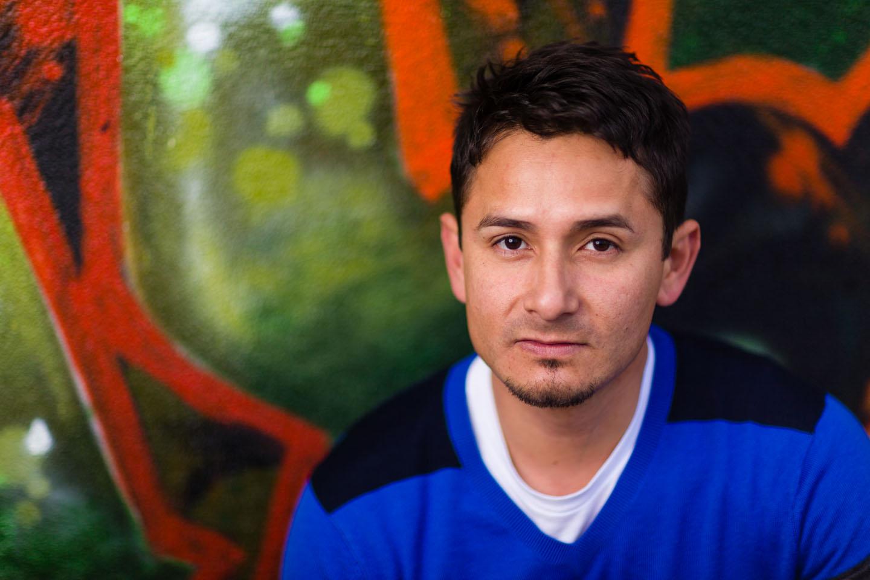 Alex with graffiti for the portrait