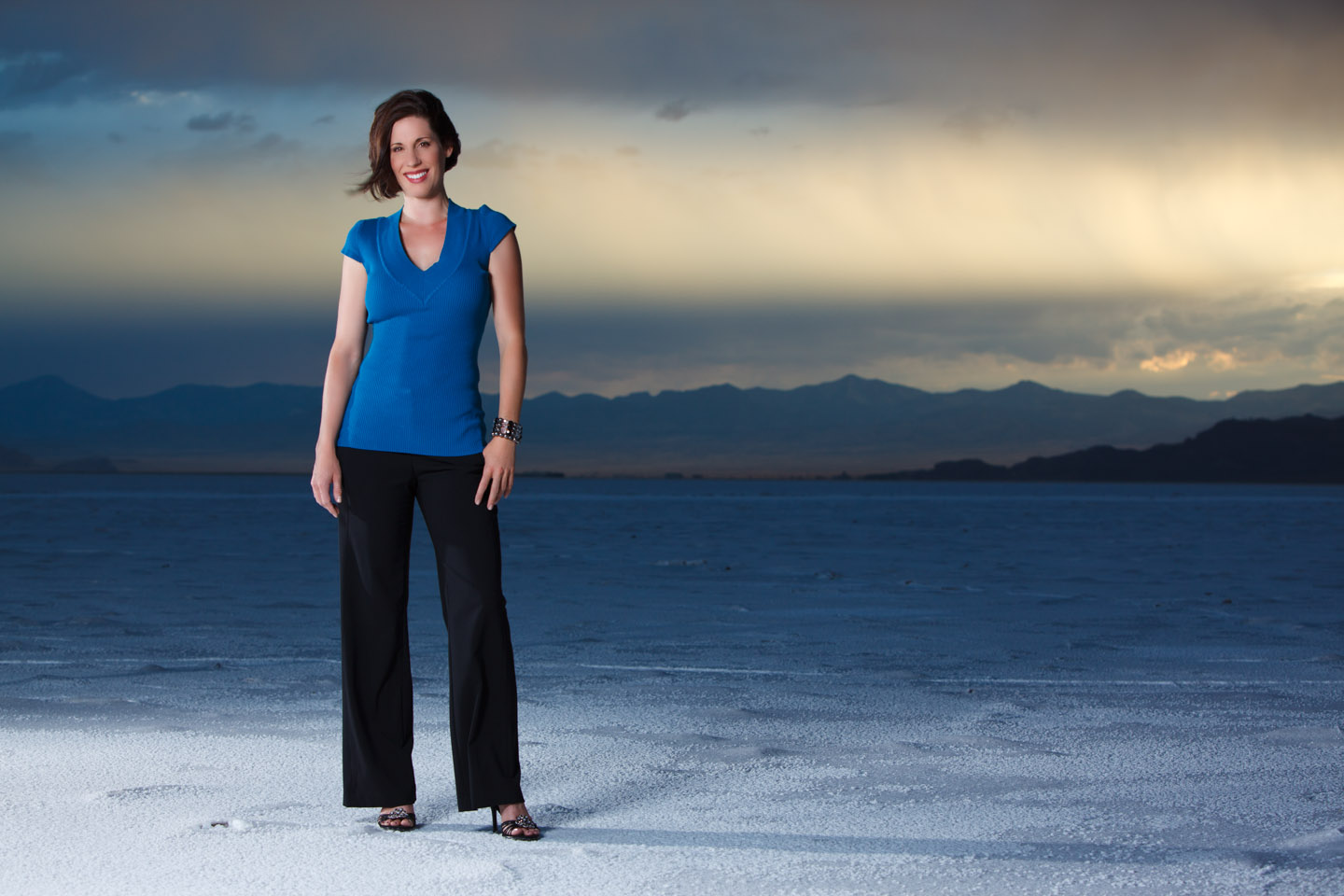Storm Clouds over a portraits session on Salt Flats