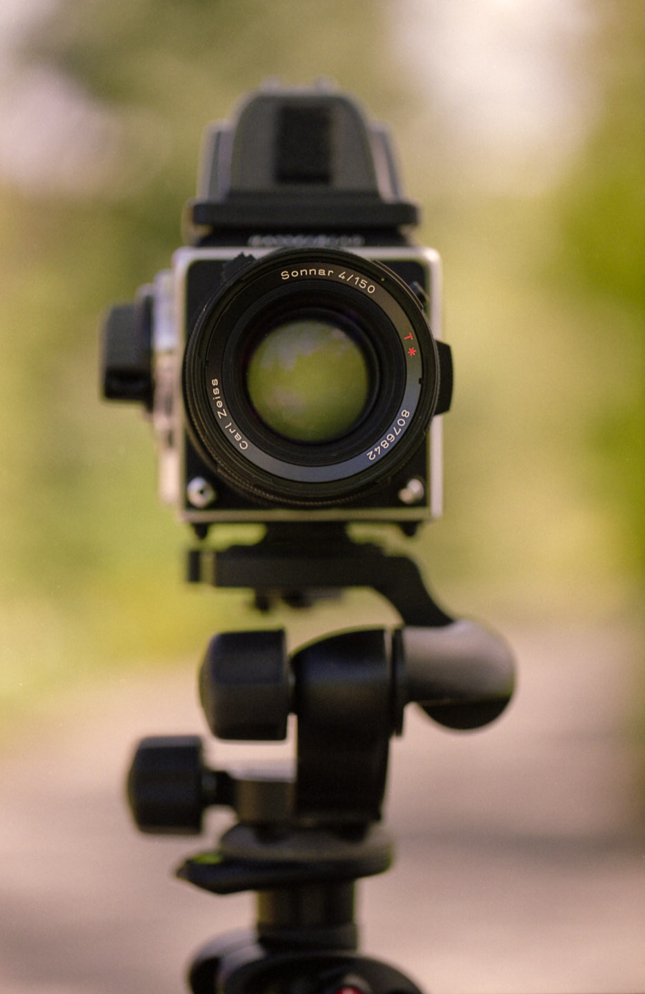 Hasselblad film camera on a tripod