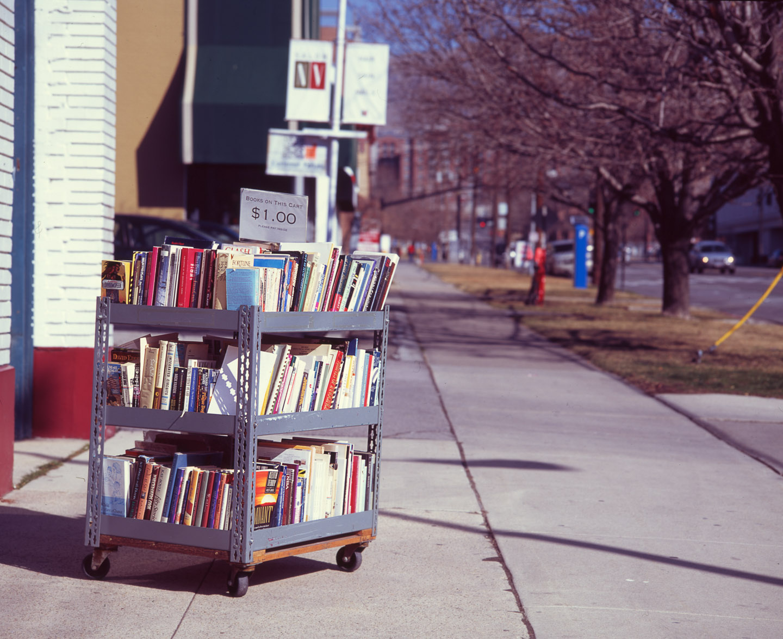 Books for sale outside a Salt Lake Bookstore