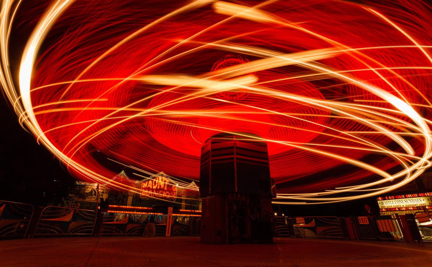 Spinning lights of a Carnival Ride in Oregon