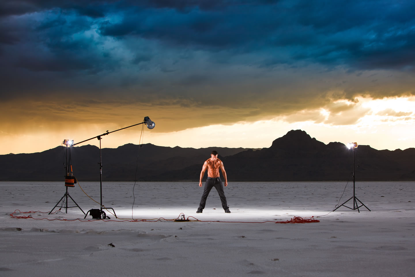 Jacob and my studio lighting on the Bonneville Salt Flats
