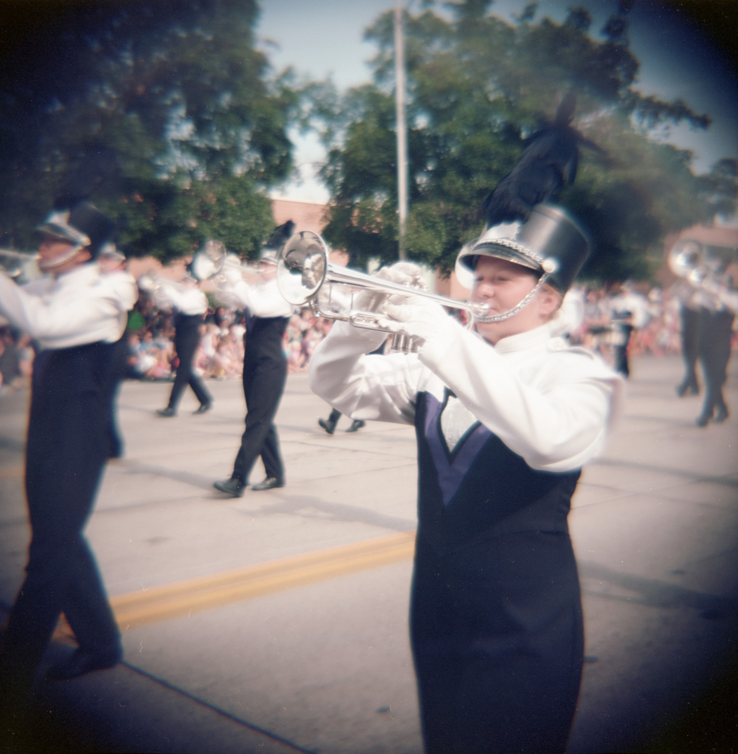A marching band is caught on my Diana+ camera