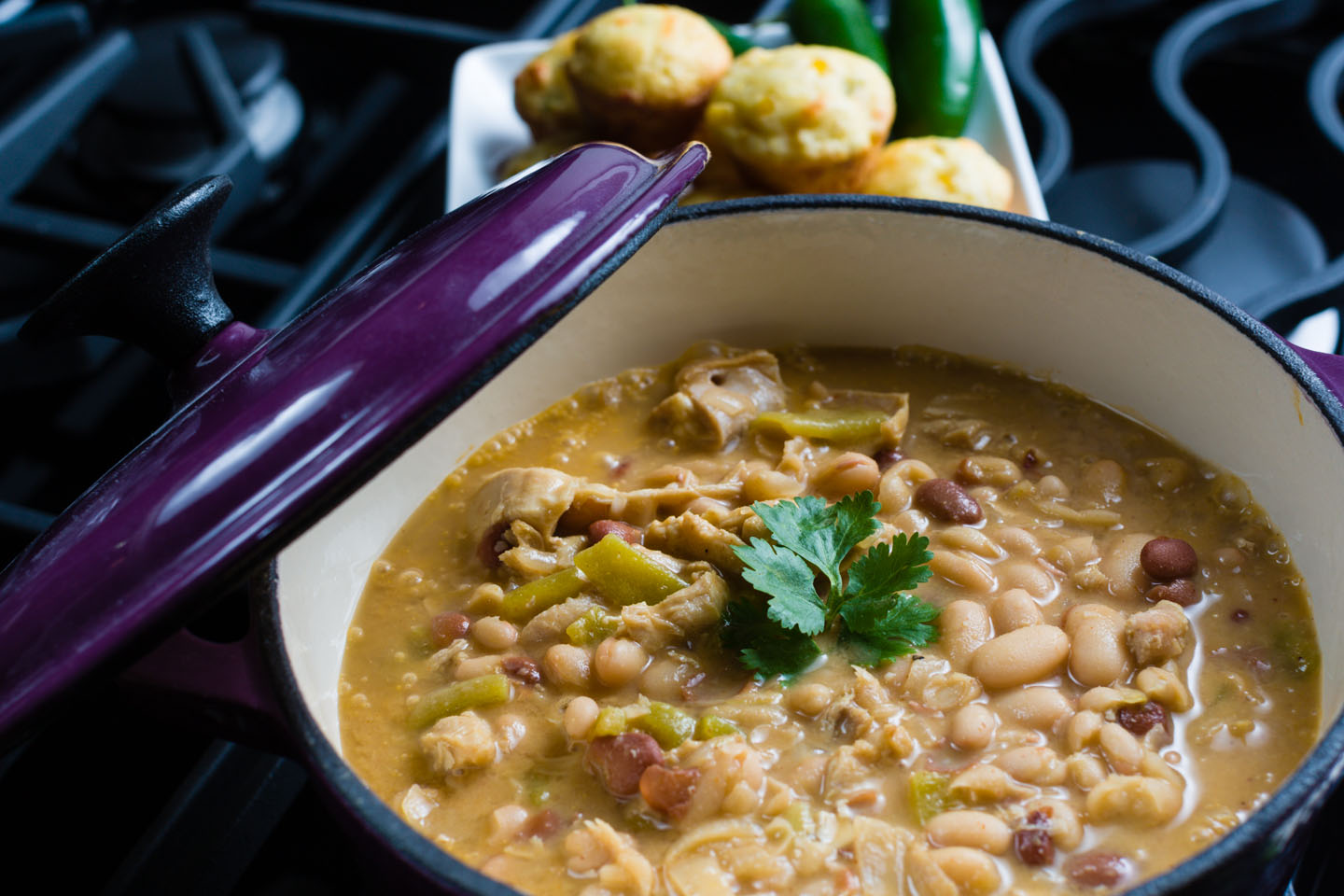 Bean soup to be served with corn muffins