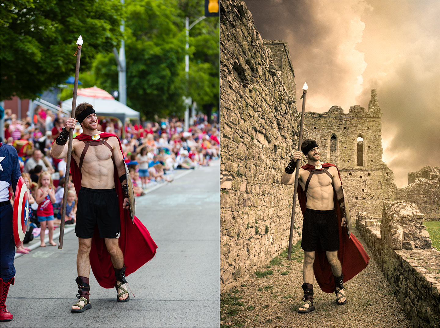Before and After of a Spartan Warrior