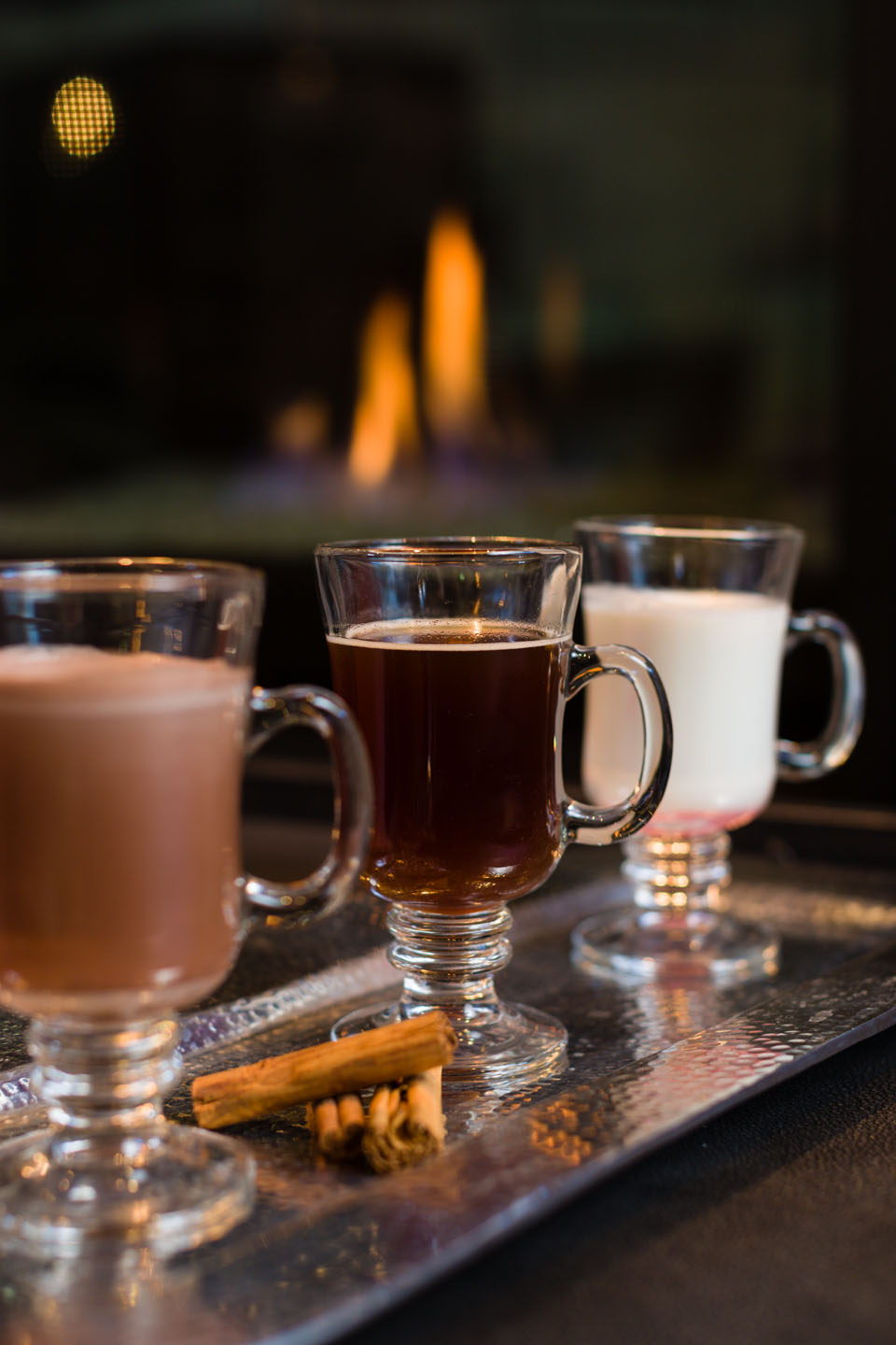 Holiday beverages by the fire