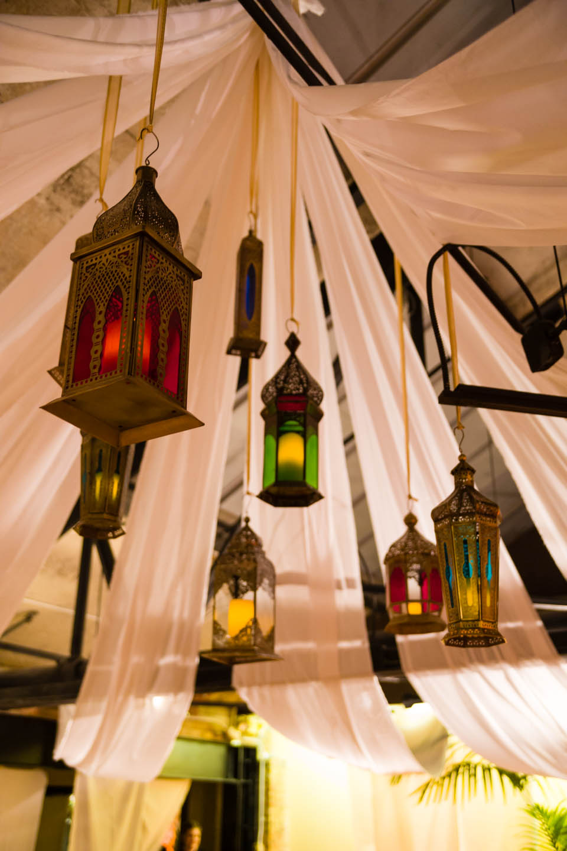 Lamps above the dance floor