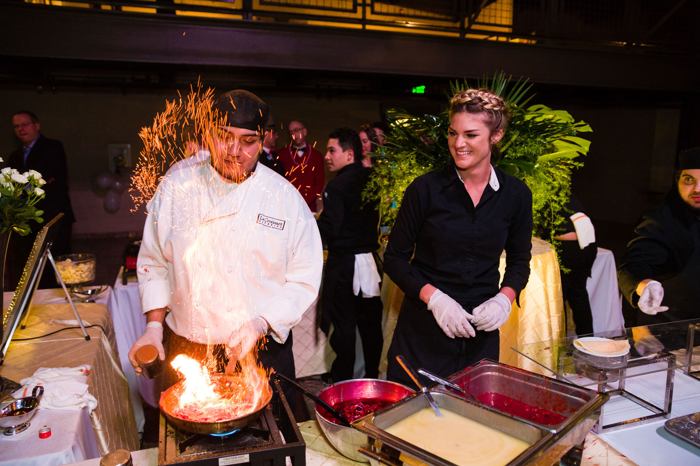 Le Croissant Catering makes cherries jubilee for the Oscar Night Gala