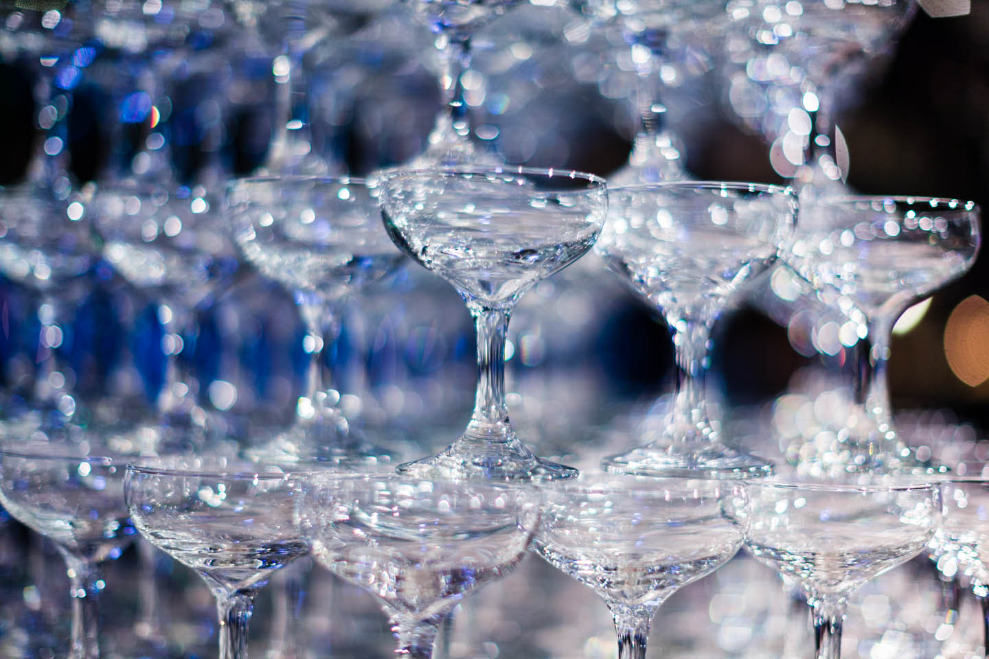 Glasses ready for a champagne fountain