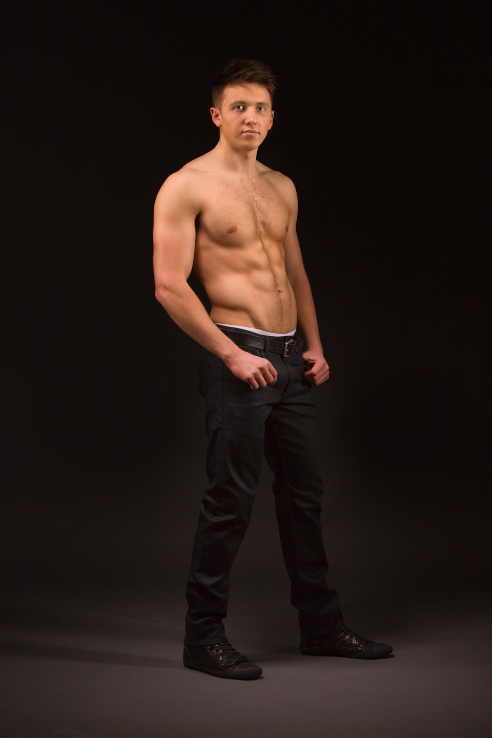 Full length shirtless male model photo