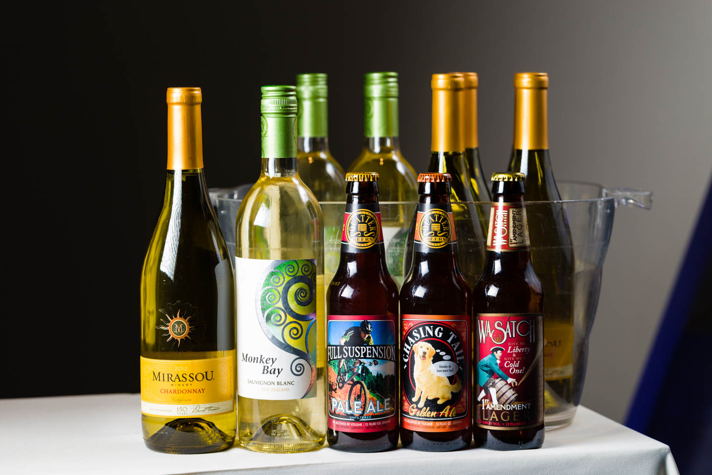 Locally brewed beers and wine