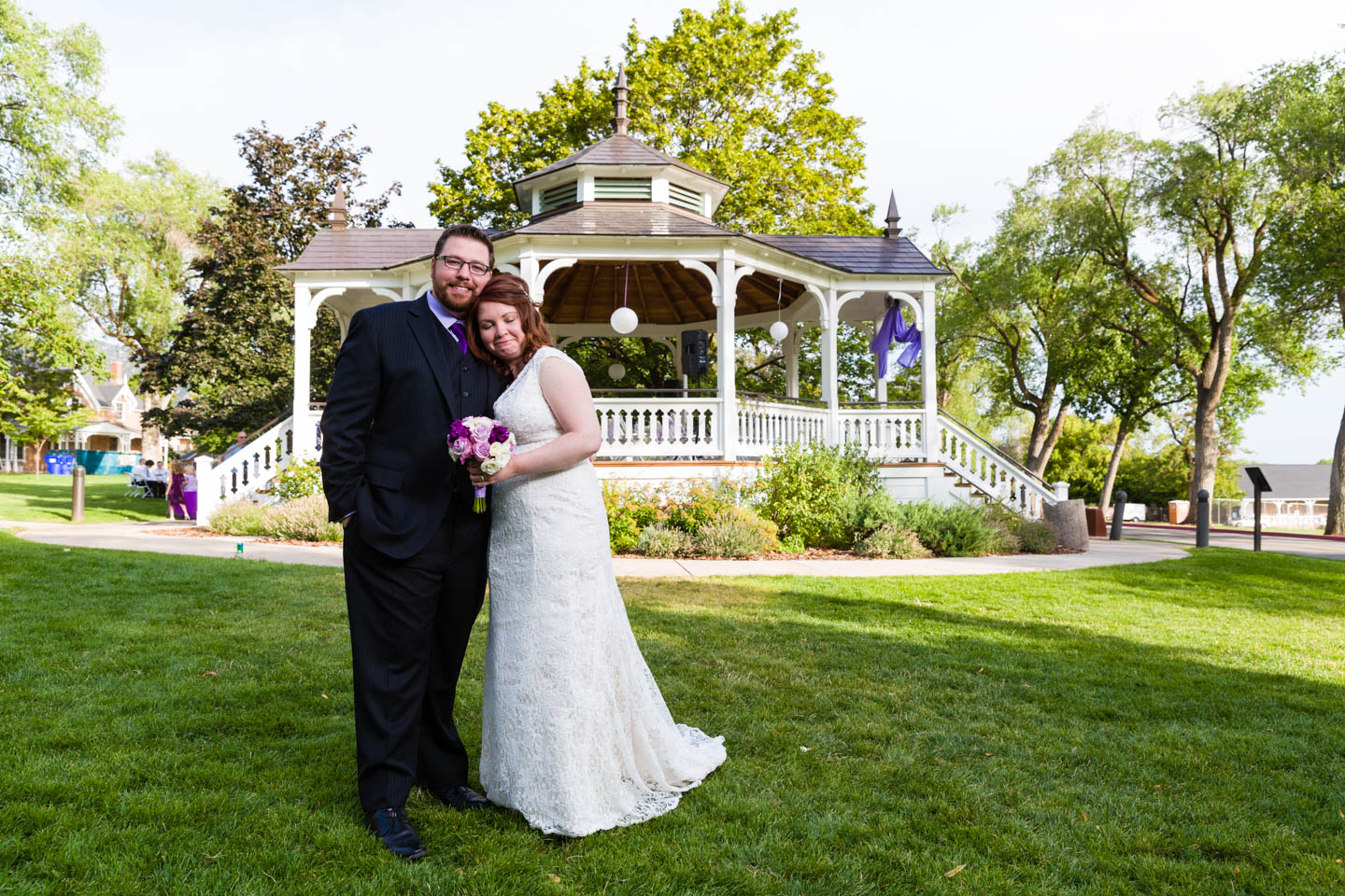 Eric and Lindsey with the bandstand in the background
