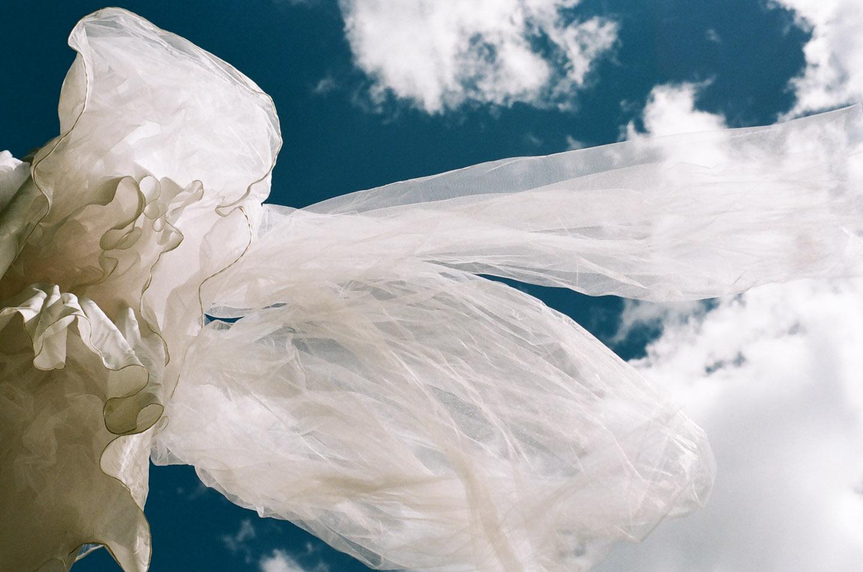 Wedding Dress flying on a flag pole on 35mm film