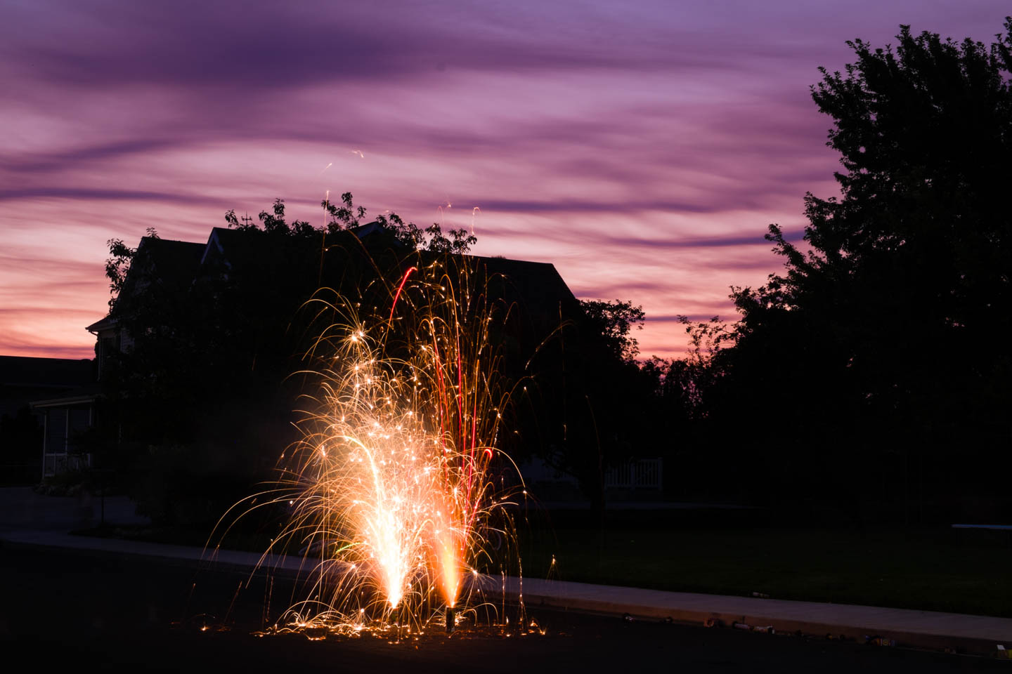 Fireworks during sunset