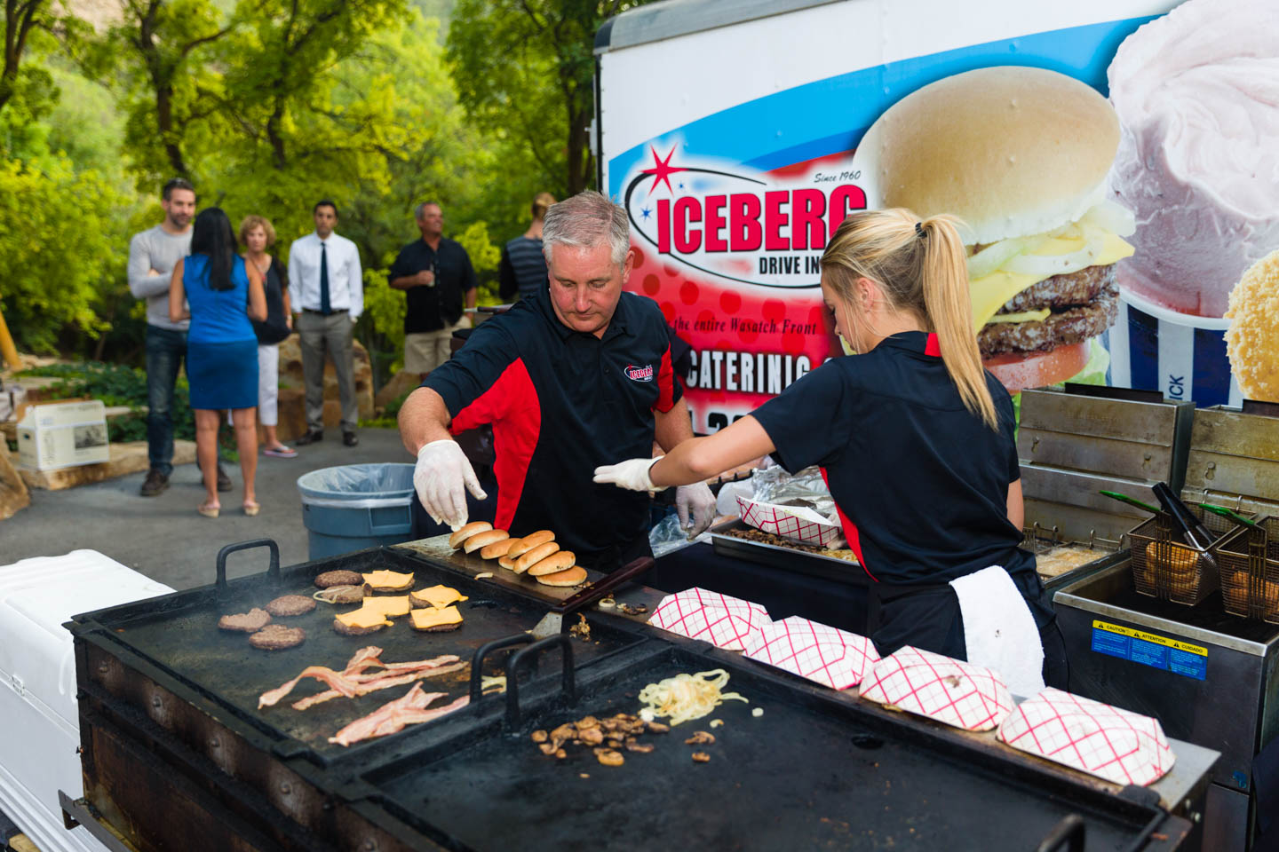 The folks from Iceberg making their classic hamburgers