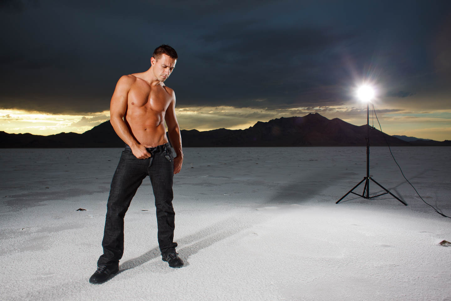 Cool lighting is required for successful Bonneville Salt Flat photo shoots