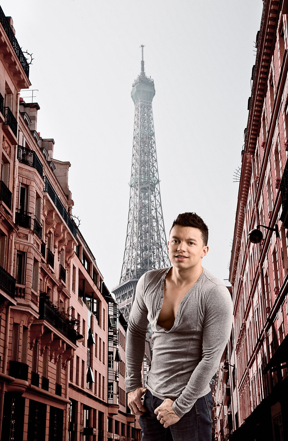 Julio was composited into Paris with the Eiffel Tower in the background
