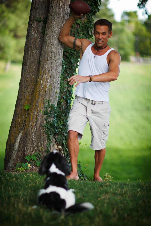 Ken plays fetch