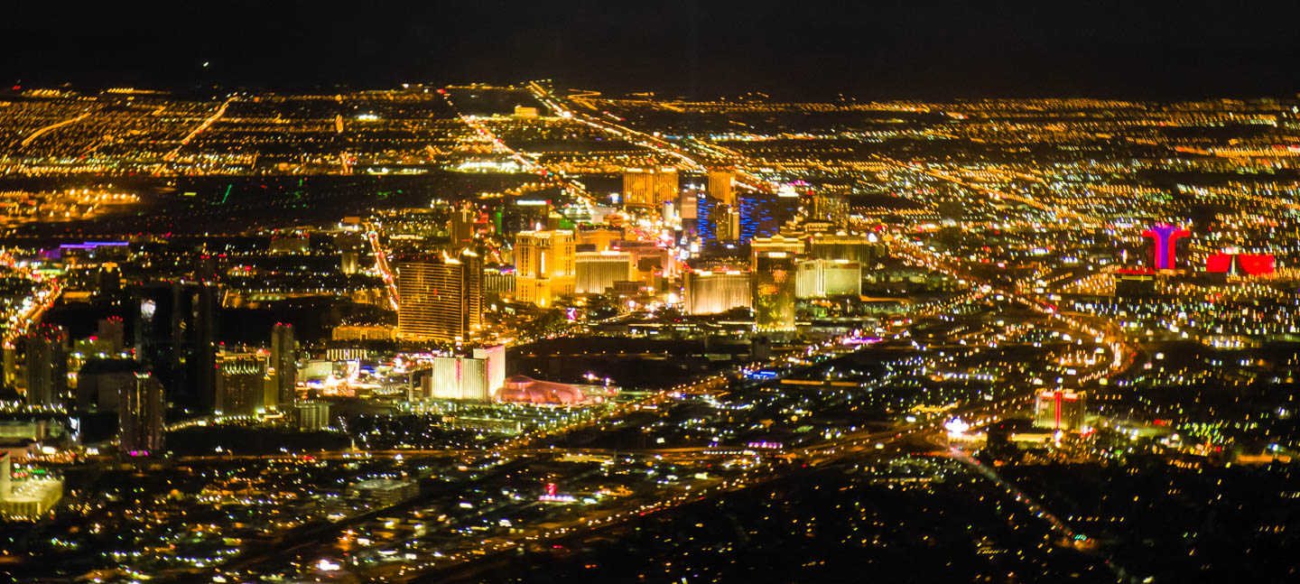 Las Vegas strip from above at night