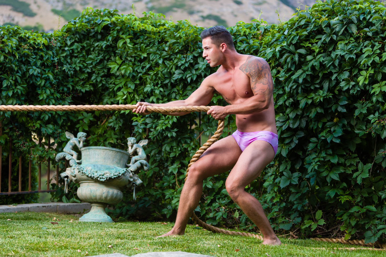 Luke models Aronik Uinta Pink swimwear