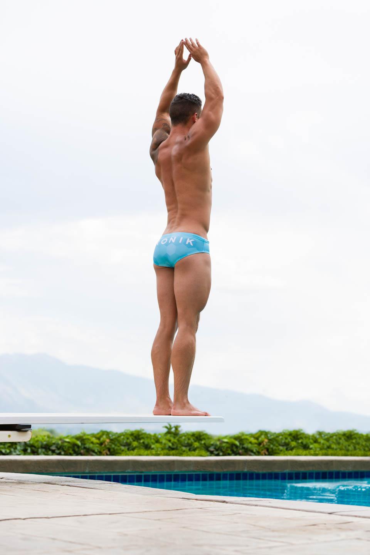 Luke models Aronik Uinta Blue swimwear