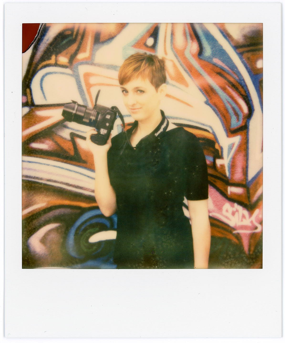 Pamela photographed with Impossible Project Film