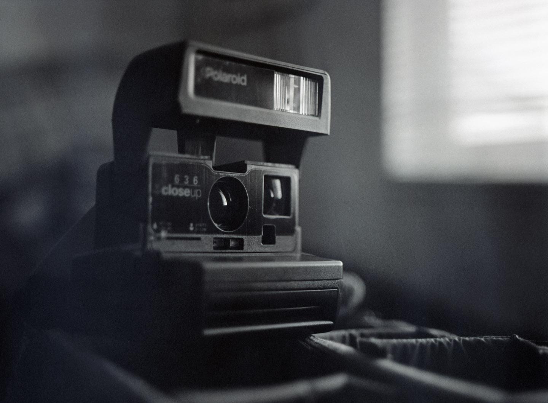 Polaroid camera on medium format film
