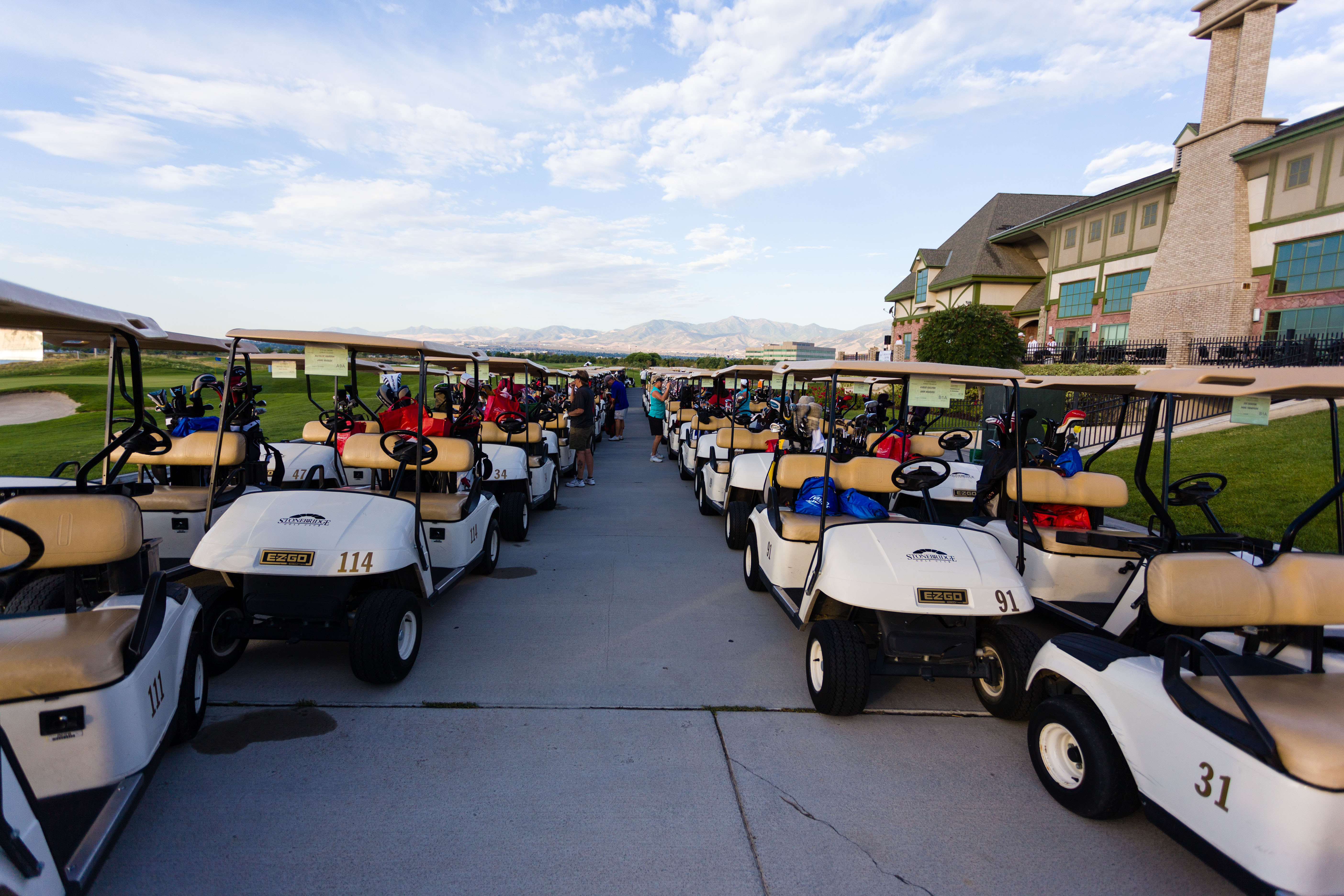 Golf carts ready for action