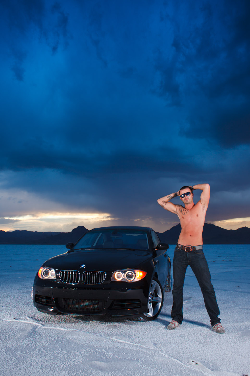A male model and BMW on the Bonneville Salt Flats