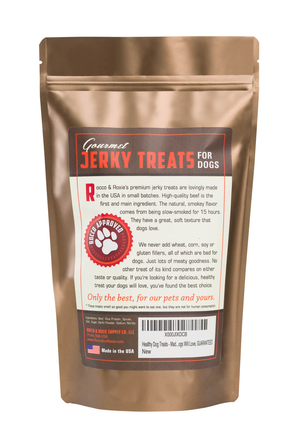 Back of the bag for Rocco & Roxie All Natural Treat Product Photography