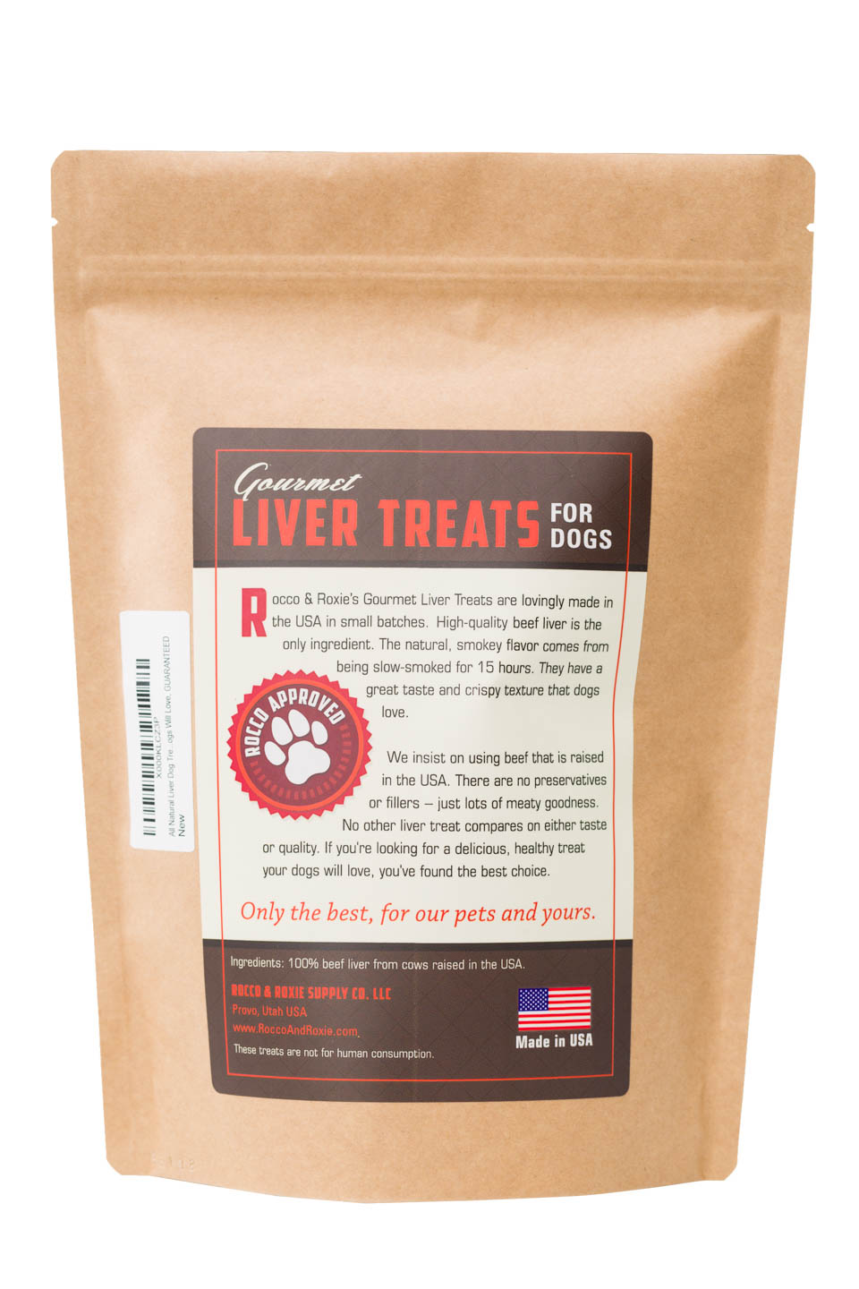 Rocco & Roxie All Natural Liver Treats for Dogs Product Photography back of the bag