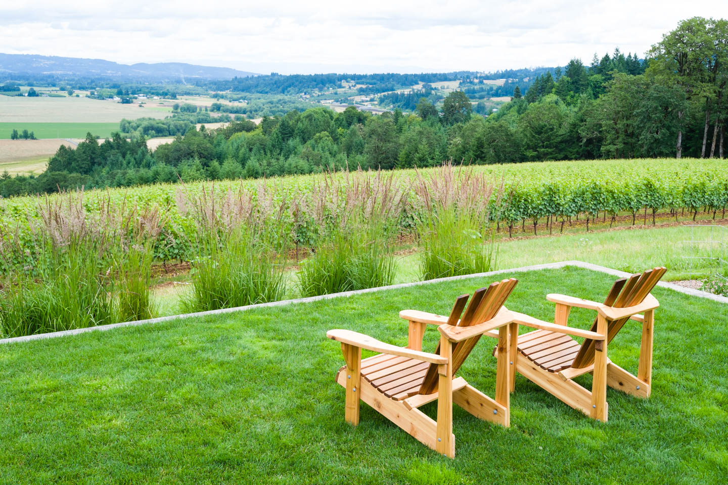 Chairs ready for the view of Oregon