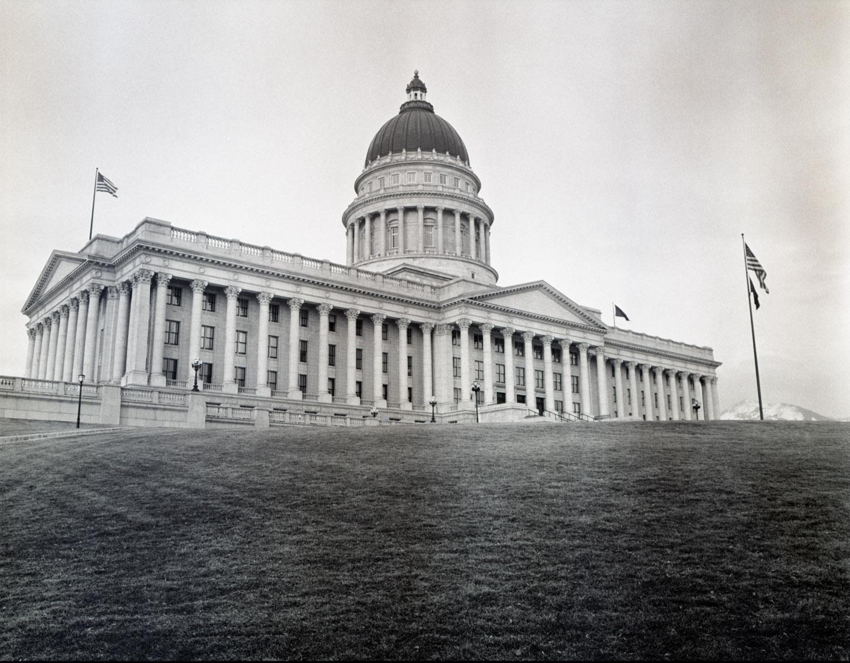 Utah State Capitol on black and white medium format film