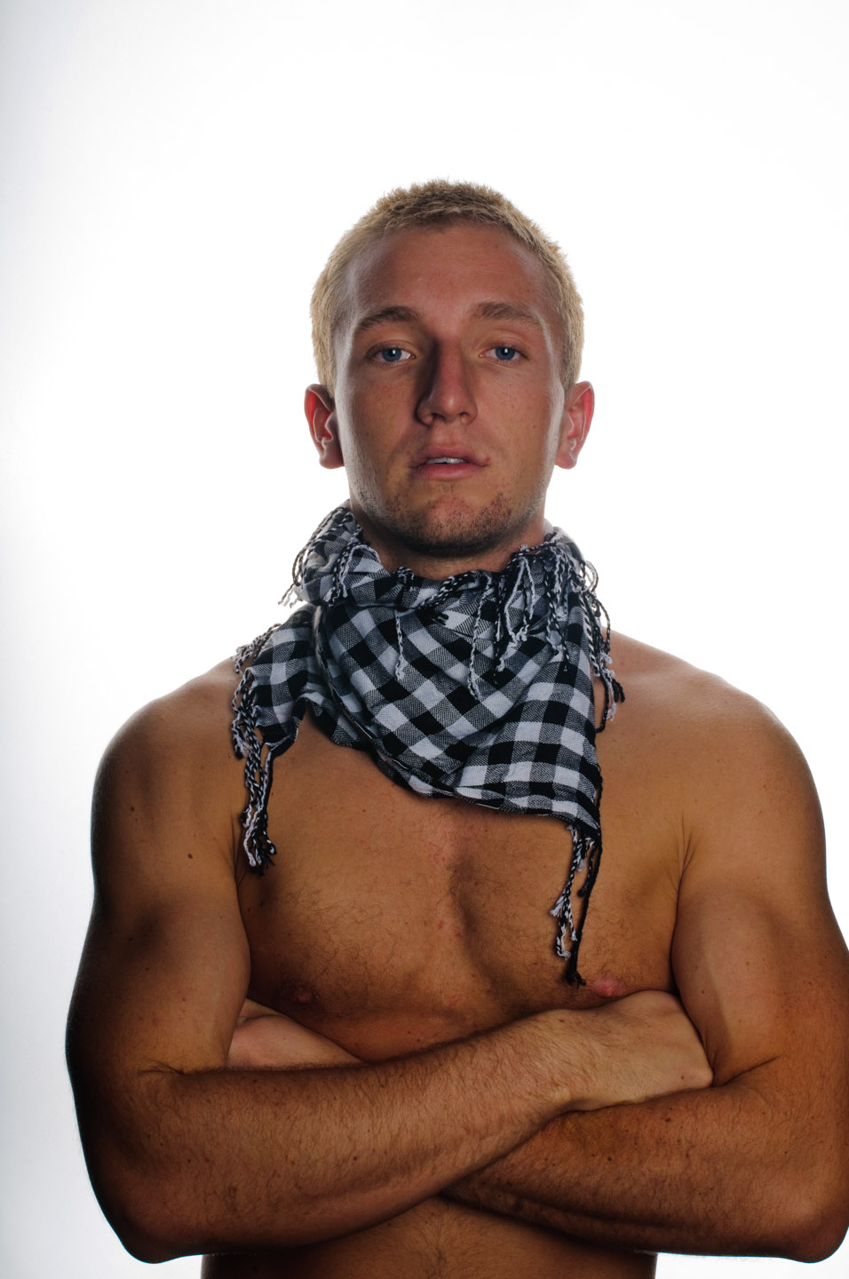 Shirtless with a scarf