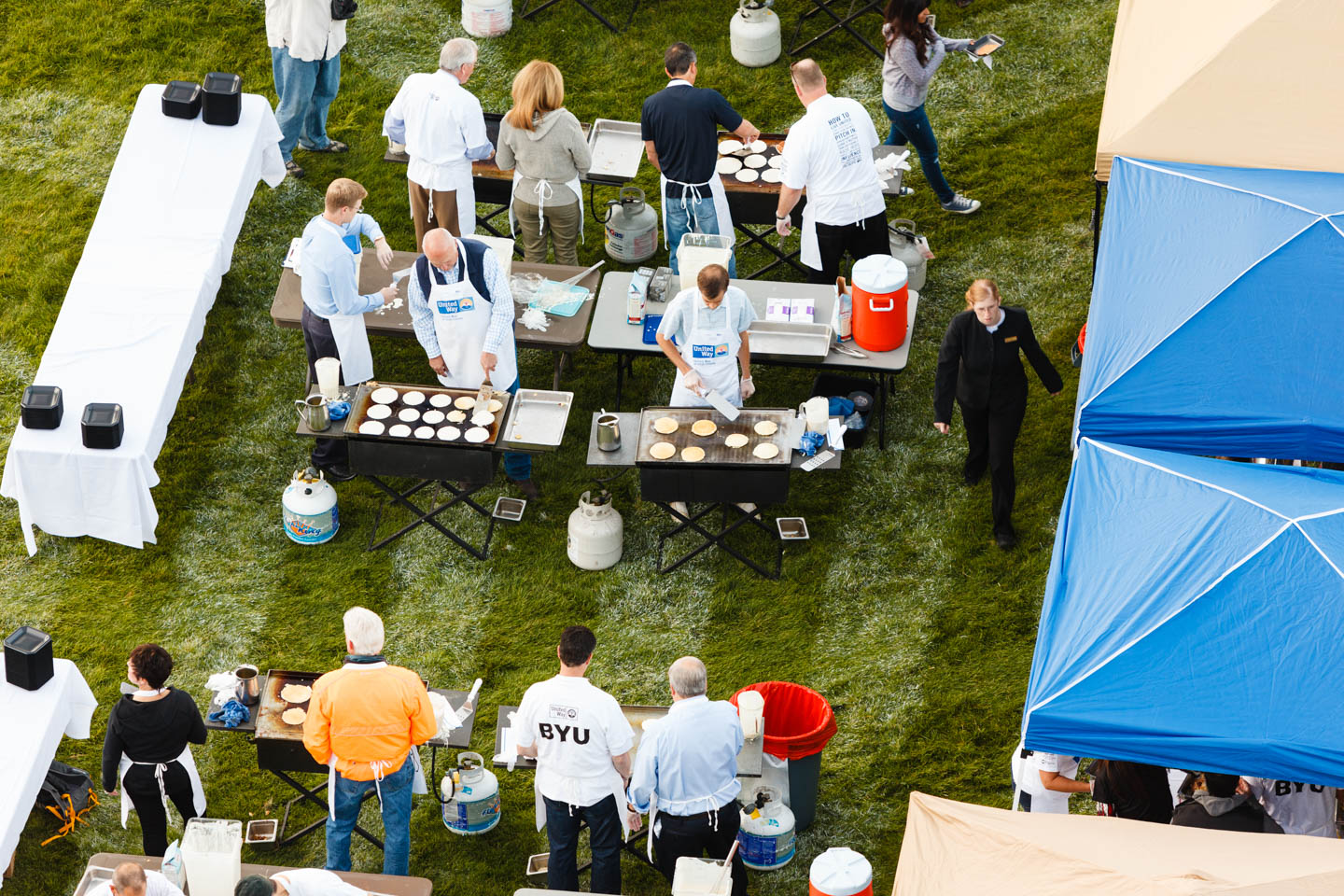 A view from above as breakfast is made fresh and served to volunteers