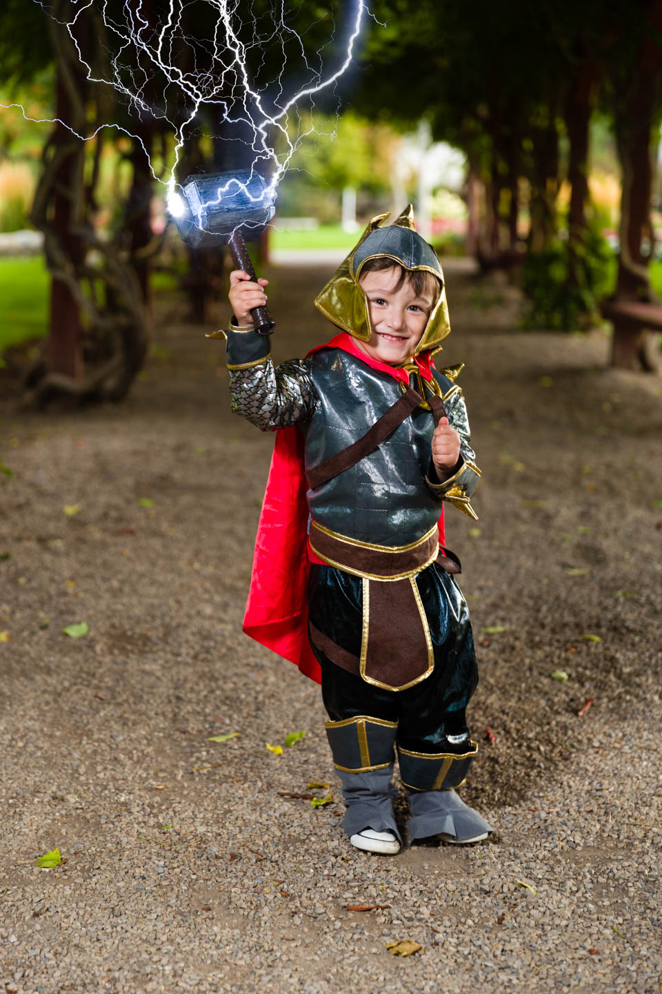 Alexander dressed as Thor and I added lightning with Photoshop