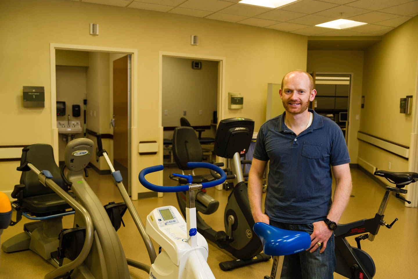 Brandon revisits the physical therapy gym at the Huntsman Cancer Institute