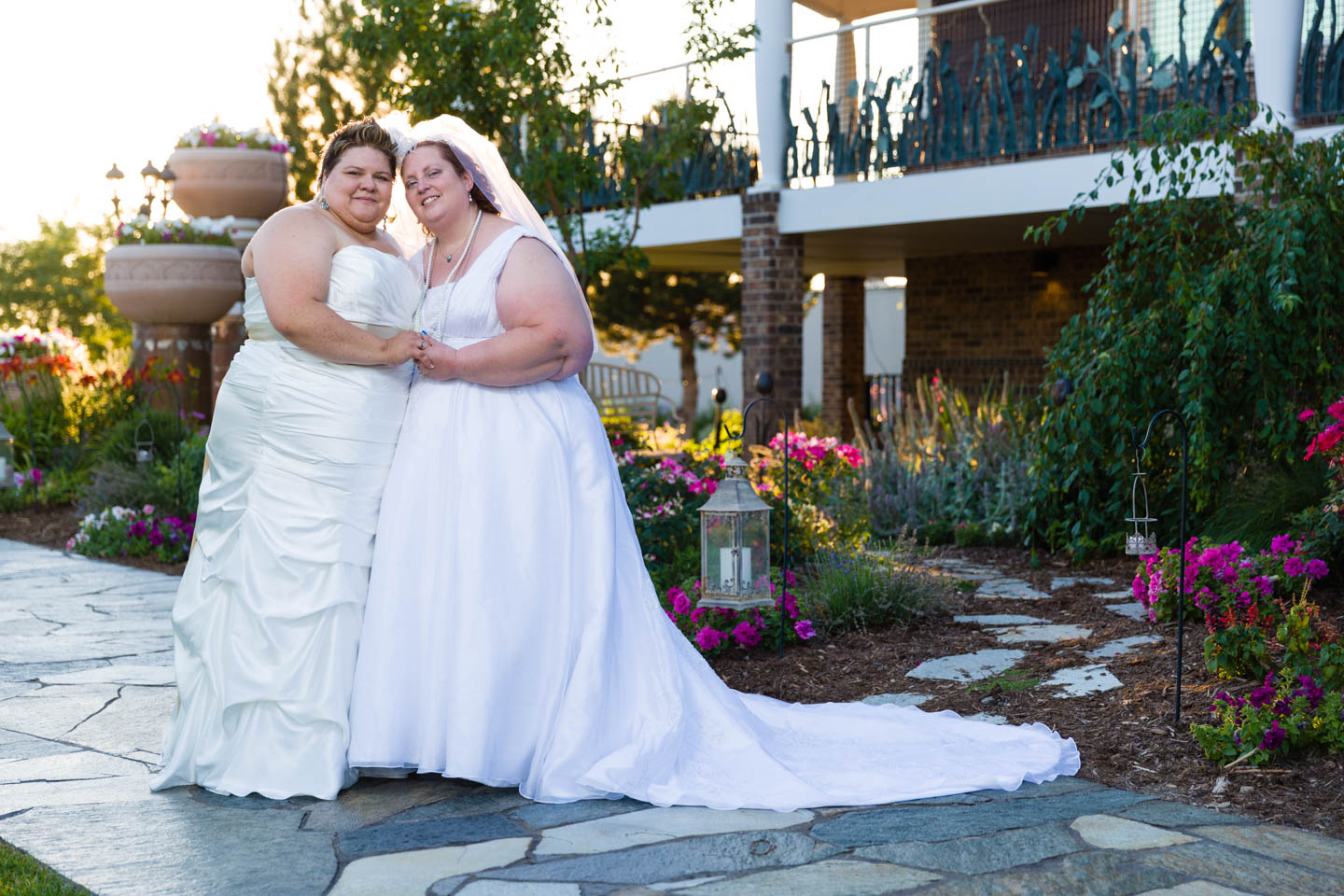 Brides formal portrait outside the Castle Park Event Center