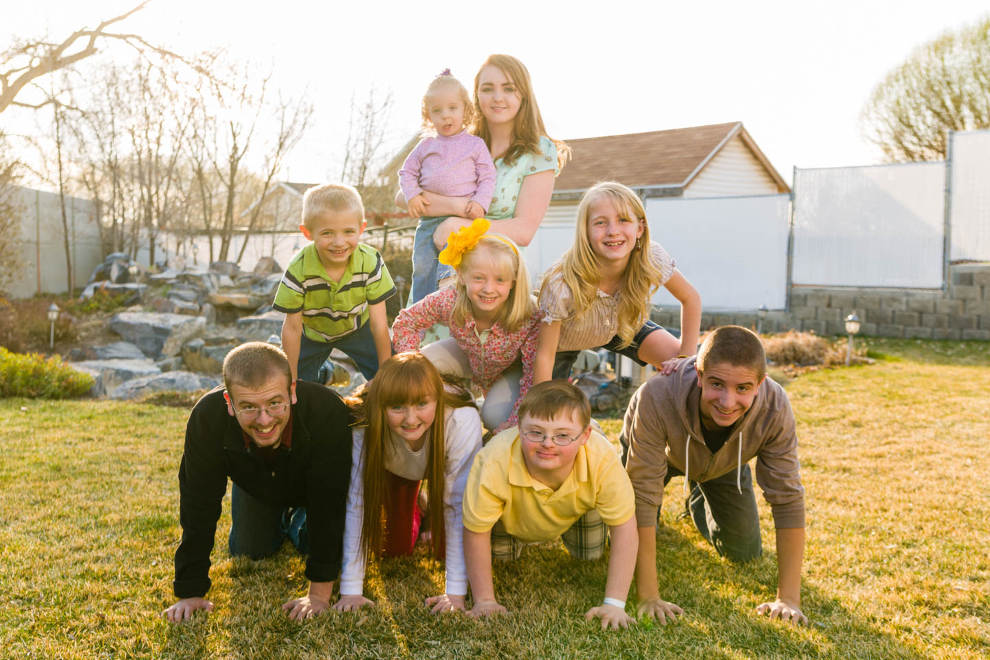 Grandkids perform a pyramid