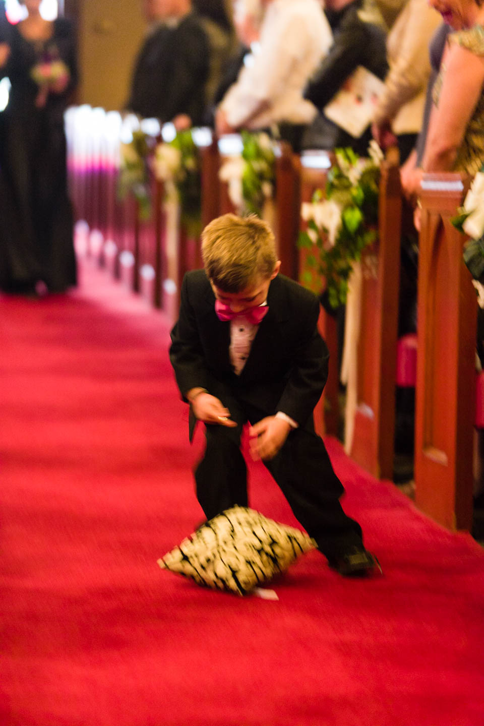 Ring bearer drops the rings and pillow